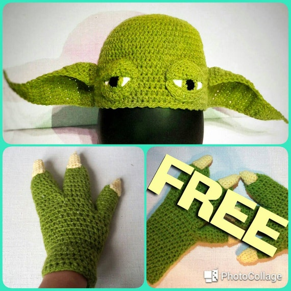 Crochet Yoda Pattern : Yoda Hat Crochet Pattern PDF + FREE Yoda Claw Gloves Crochet Pattern ...