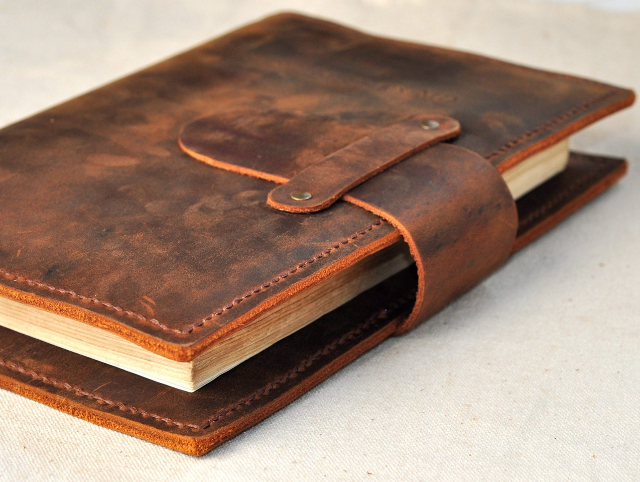 How To Make A Book Cover Leather ~ Handmade leather book coverunique office supplies