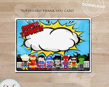 50% OFF SALE Superhero Thank you card, Super hero note card, Superheroes Birthday party decorations, Party supplies, INSTANT Download