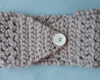 Handmade beige ear warmer headband