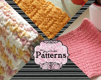 Discount Crochet Pattern Package-3 Crochet Dishcloth Patterns for 6 Dollars
