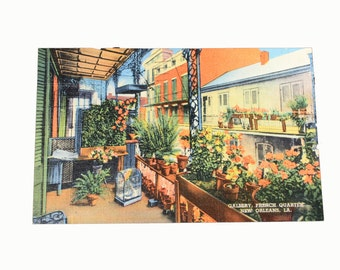1950s New Orleans Vieux Carre Balcony Linen Postcard, French Quarter Gallery