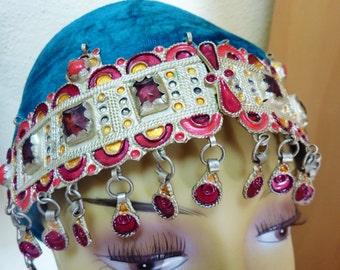 Berber-Headpiece, Vintage Moroccan Headpiece, Crown with Amethyst