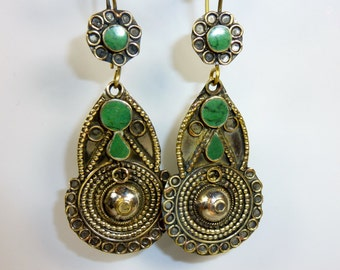 Green Tribal Earrings, vintage