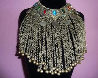 Kuchi Tribal Choker, Afghan Jewelry, Vintage Nomad Gypsy Choker, Nomad Jewelry, Nomad-Choker Ethnic Tribal Fusion Necklace