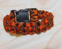 Orange and Black pattern large Paracord bracelet