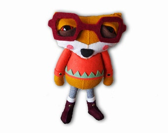 Amelie the Fox - handmade plush creature plushie toy - children birthday gift