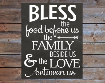 "Bless the Food Before Us Printable Chalkboard Sign Instant Download 8x10"" Kitchen Wall Decor Sign Dining Room Decor Sign Custom Colors"