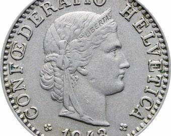 1943 Switzerland 20 Rappen Coin