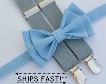 Light Blue Bow Tie & Grey Suspenders  -- Men's Bow Tie Suspenders -- Ring Bearer Outfit