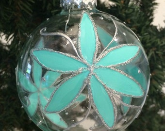 Vintage Star Flower, Vintage Ornaments, Aqua, medium glass Christmas Tree Ornament, turquoise and silver, 1950s, handpainted ornaments