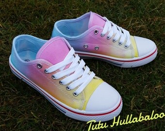 Tie Dye Shoes - Summer Canvas Plimsoll Shoes - Rainbow Pastel Colours