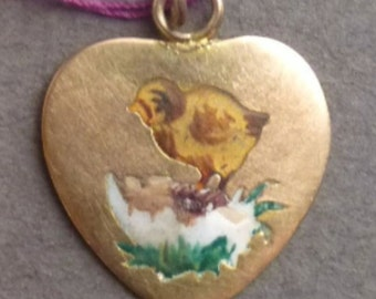 Rare enamel 10K gold heart with chick and egg nest