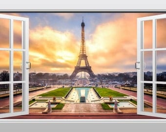 Eiffel tower in Paris, France 3D Windowscape Wall Art Sticker - VPRNT1058