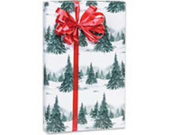 Green and White Winter Forest Christmas Script Gift Wrap Paper -15ft