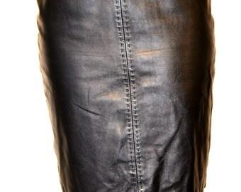 vintage leather skirt / leather skirt / leather pencil skirt / size 10