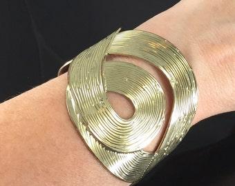 High Fashion Wide Gold Cuff Bracelet, Statement Cuff, Vintage Gold, Swirled Gold Cuff, Textured Gold Cuff, Cuff Bracelet