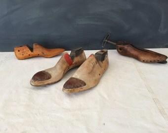 Vintage Wood Shoe Forms - Rustic - Primitive - Cobbler  //  LNJ