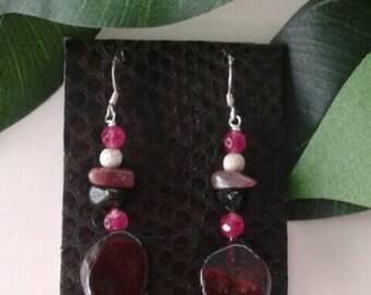 Natura earrings in silver & tourmaline