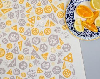 Geometric Tea Towel Yellow/Grey