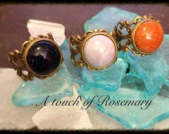 12 mm semi precious stone filagree adjustable ring. Price is per ring.