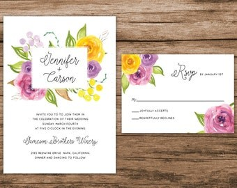 Floral Colorful Wedding Invitation, Watercolor Floral Invitation, Botanical Wedding Invite