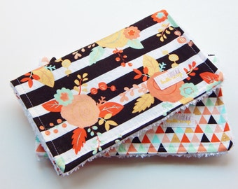 Girl Burp Cloth-  Floral and Geometric,  modern and colorful
