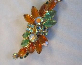 Vintage Rhinestone brooch multi color