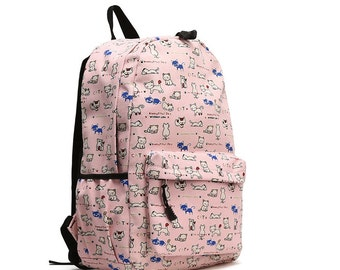 Middle Size Animal Printing Round Backpack (Cat)