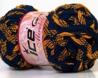 Mirabella Navy Blue and Gold Scarf Ruffle Yarn, Art Yarn, Novelty Yarn, Unique Color, Scarf Yarn, 27376