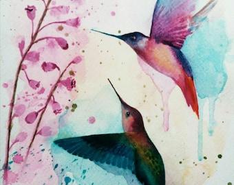 Hummingbirds, original watercolor painting, free shipping