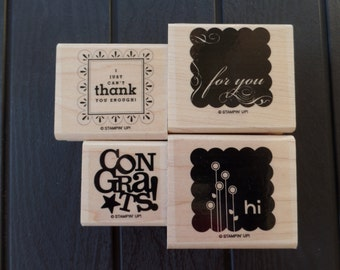 Say It with Scallops Retired Stampin' Up Wood-Mount Stamp Set