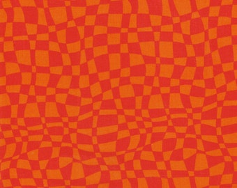 Orange Checkers- 100% Cotton Quilting Fabric