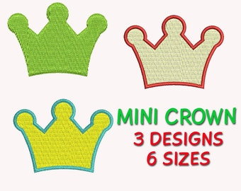 Mini Crown Embroidery Design, Machine Embroidery, Fill Stitched, 6 Sizes,  Digitized Pattern,  DIGITAL INSTANT DOWNLOAD 136