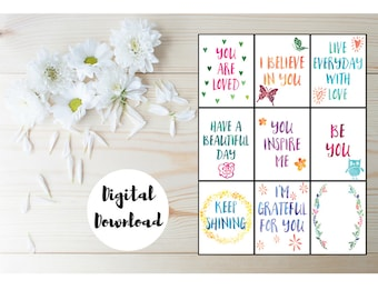 Lunchbox Notes - Printable Inspirational Cards - Affirmation Cards - Gratitude Journal - Printable Planner Inserts - Inspirational Print
