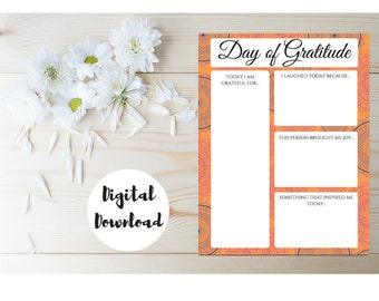 Gratitude Journal - Day of Gratitude - Printable Worksheet - Daily Gratitude - Inspirational Print - Gratitude Print - Classroom activity
