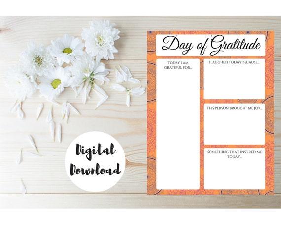 Gratitude Journal Day of Gratitude Printable Worksheet – Gratitude List Worksheet