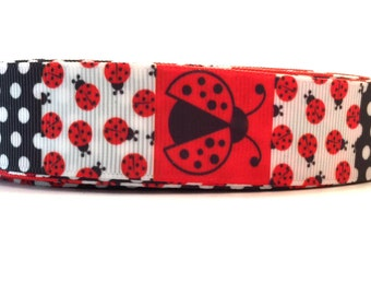 Ladybug Ribbon, Ladybug Grosgrain, Bug Ribbon, Bug Grosgrain, Red Ladybug Ribbon, Black Ladybug Ribbon, Lady bug Ribbon, Lady bug Grosgrain