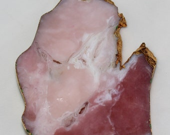 Gold Plated Pink Opal Slab Pendant