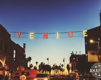 Venice Sign twilight photograph -digital download