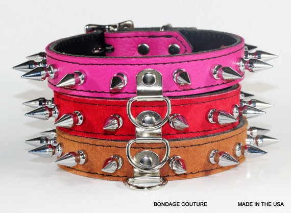 Trio BDSM collars Spiked Human Collar Bondage Couture BDSM