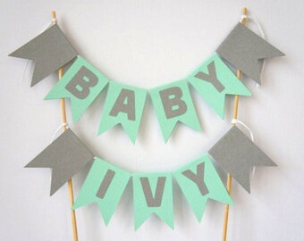 Personalised mint green and grey cake topper