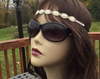 SALE !! Wedding Headband //Silver & Clear Rhinestone Headband // Cream Ynthetic Pearl Headband // Handmade // Hair band