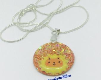 Glittery Orange Lion Necklace, Resin Jewelry