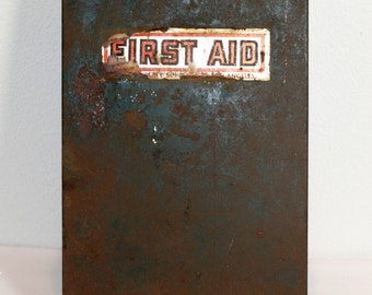 First Aid Kit, Vintage 1930-1940's Hanging First Aid Medical Box, Metal First Aid Kit With Original Supplies, Wall Hanging First Aid Box