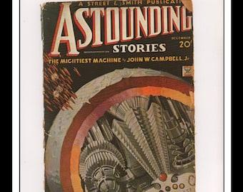 "Vintage Print Ad Sci Fi Cover : Astounding Stories December 1934 Howard Brown Illustration Wall Art Decor 8.5"" x 11 3/4"""
