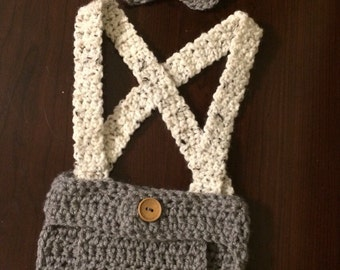 Newborn baby diaper cover with suspenders and bow tie