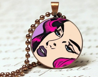 Comic Retro pop woman with pink hair, pop art pendant