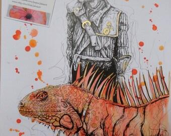 Walking With My Iguana, Steampunk, Iguana, Reptiles, Original Art, Jakeart1, Steampunk Art,