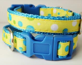 Puppy Dog Collar - Adjustable Dog Collar -  Yellow and Blue Polka Dot Collar - Small Dog Collar - Male Dog Collar- Cute Dog Collar